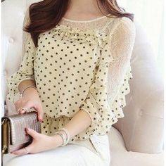 Chic Style Round Collar Lace Splicing Polka Dot Print Chiffon Women's Blouse