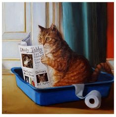 Tabby Cats Orange Art Print: Kitty Throne by Lucia Heffernan : - I Love Cats, Crazy Cats, Cute Cats, Funny Cats, Funny Animals, Cute Animals, Pretty Cats, Crazy Cat Lady, Photo Chat