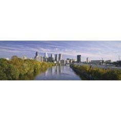 Reflection of buildings in water Schuylkill River Northwest Philadelphia Philadelphia Pennsylvania USA Canvas Art - Panoramic Images (36 x 12)