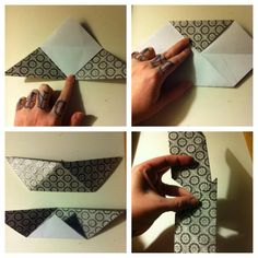 2.Fold top tip down to bottom edge. Open & fold top tip down to bottom edge. Fold it back in 1/2. 3rd pic shows front & back. Holding 2 in same direction, slip one into the other. No glue required.