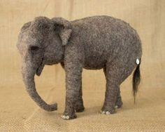 Megan Nedds Realistic Needle Felted Animals - Elephant from www.livingfelt.com/blog Megan used Living Felt MC-1 Willow for this beautiful sculpture