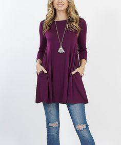 d37e2387c8c5c Dark Plum Side-Pocket Boatneck Tunic - Women   Plus