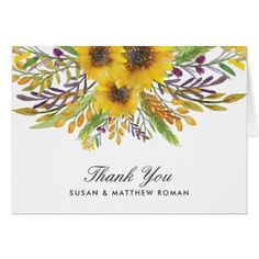 #wedding #thankyoucards - #Rustic Sunflower Thank you Card