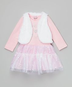Look at this Nannette Pink Heart Dress & Faux-Fur Vest - Toddler & Girls on #zulily today!