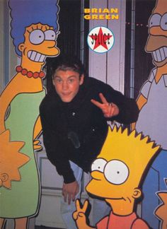 BRIAN AUSTIN GREEN pinup - Rare one with Marge, Bart, and Homer Simpson! - ZTAMS Brandon Walsh, Brian Austin Green, Shannen Doherty, Luke Perry, Beverly Hills 90210, Debby Ryan, Homer Simpson, Scandal Abc, Best Tv Shows
