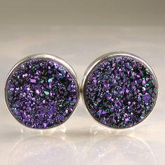 Cobalt BluePurple Drusy  Earrings by JanishJewels on Etsy, $122.00