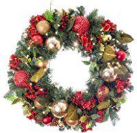 "Pre-Lit Decorated Wreath Scarlet Hydrangea 30"""
