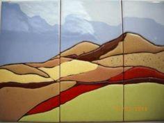 paisaje  cerámica cuerda seca cuadro loseta catalana,esmaltes cuerda seca