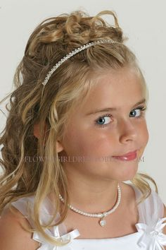 Rhinestone Tiaras - Flower Girl Dress For Less Flower Girl Hairstyles, Little Girl Hairstyles, Cute Hairstyles, Wedding Hairstyles, Pageant Hair, Pageant Dresses, Cinderella Sweet 16, Cinderella Wedding, White Flower Girl Dresses
