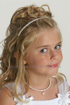 Rhinestone Tiaras - Flower Girl Dress For Less Flower Girl Hairstyles, Little Girl Hairstyles, Cute Hairstyles, Wedding Hairstyles, Cinderella Sweet 16, Cinderella Wedding, White Flower Girl Dresses, Flower Girls, Pageant Hair