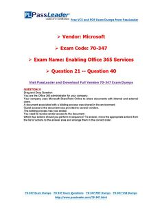 70-347 Exam Dumps with PDF and VCE Download (21-40) 21 Questions, This Or That Questions, Pdf, Coding, Free, Programming
