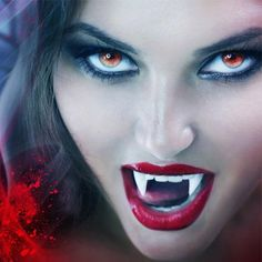 Vampire woman displaying fangs