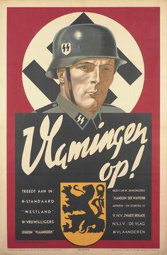 Vlamingen op Ww2 Propaganda Posters, German Stamps, Germany Ww2, German Uniforms, Wwii, Flyers, Soldiers, Classical Art, World War Two