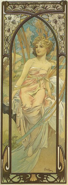 1899+2+The+Times+of+the+Day+poster+-+Morning+Awakening+lithograph+107.7+x+39+cm  alphonse mucha