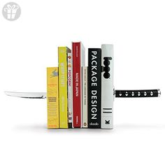 MUSTARD Bookends metal for shelves I Storage for Books, DVDs, CDs I Funny Gift idea for Men & Women I Stationery & Office Supply - Katana Samurai Sword (*Amazon Partner-Link)