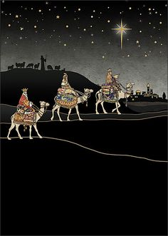 Three Kings Journey - christmas card design by Jane Crowther for Bug Art greeting cards.