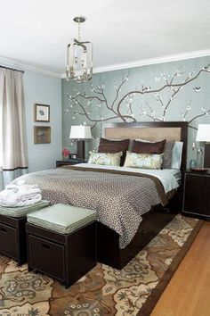Fancy Sticker Wall Decal Feat Espresso Master Bed Frame Also White Shade Table Also Brown Bedroom Rugs In Small Space Light Blue Bedroom Ideas Bedroom Turquoise, Blue Bedroom, Bedroom Modern, Bedroom Vintage, Trendy Bedroom, Minimalist Bedroom, Contemporary Bedroom, Vintage Decor, Surf Bedroom