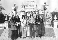 Peter Gabriel with first wife Jill, Tony and Margaret Banks, Mike, Steve Hackett with first wife Ellen at Disneyland circa 1973