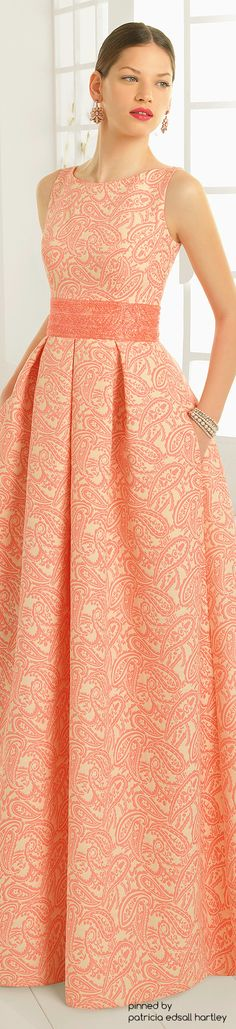 Aire Barcelona 2016 Sleeveless Orange gown with Broad waist band. Lovely Dresses, Beautiful Outfits, Vintage Dresses, Modest Fashion, Fashion Dresses, Mode Glamour, Evening Dresses, Formal Dresses, Mode Style