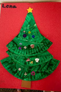 Xmas tree craft - one paper plate per tree - paint it green, cut into difnt sized triangles, glue on brown rectangle stem, and sequins for ornaments! simple and pretty!