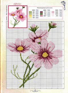 Cross-stitch Cosmos Flowers
