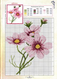 Cross-stitch Cosmos Flowers