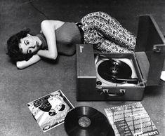 Rita Moreno in her Vinyl Record Room Vinyl Record Player, Vinyl Record Art, Record Players, Vinyl Music, Vintage Vinyl Records, Rita Moreno, Lps, Jeane Manson, Vinyl Junkies