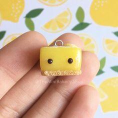 Lemon Bar Polymer Clay Charm Silver Eye Pin