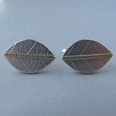 Naomi James   Silver with gold line cufflinks / Cyfflincs arian gyda llinell aur  £96