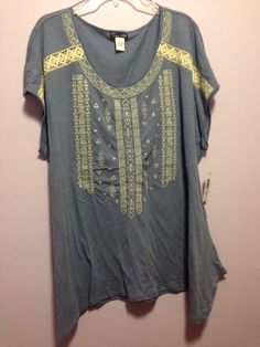 RXB Woman Denim Style Shirt Top Blouse Tunic Crochet Lace Front Plus Size 1x Nwt #RXB #KnitTop #Casual
