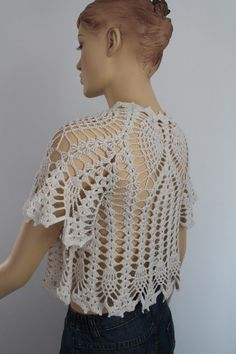 Crochet Off White Bridal Shrug Bolero / Fall Spring Fashion