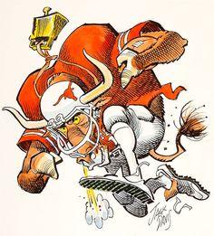 Jack Davis Texas Longhorns Football Illustration Original Art (Hot Shots, circa If you celebrate Darrell - Available at 2015 May 28 - 30 Comics &. Texas Longhorns Football, Football Usa, Nfl, College Football, Baseball Art, Vintage Football, Cartoon Sketches, Cartoon Art, Jack Davis
