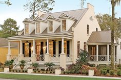 17 Pretty House Plans with Porches Southern homes are famous for their relaxing and beautiful front porches. Check out this Eastover Cottage along with some of Southern Living's best house plans with porches here. Cottage Porch, Cottage Plan, Coastal Cottage, Coastal Homes, Cottage House, Southern Cottage, Coastal Living, Cottage Style, Coastal Farmhouse