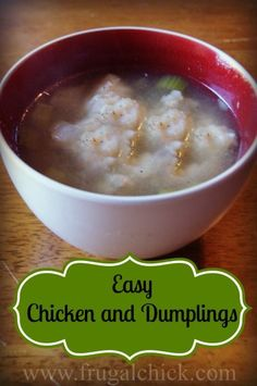 Chicken and Dumplings with tender pieces of chicken in a light broth and topped with delicious dumplings.  This one pot meal will warm you from the inside out and will be a hit with the entire household. Chicke Recipes, Easy Healthy Recipes, Delicious Recipes, Chicken And Dumplings, One Pot Meals, Vegetable Recipes, Frugal, Meal Planning, Breakfast Recipes