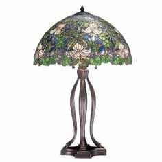 30 Inch H Trillium & Violet Table LampNature abounds in this Meyda Tiffany designer stained glass shade. Glistening ruby red berries, Ivorytrilliums and clu Table Lamp Base, Light Table, Lamp Light, Farmhouse Table Lamps, Modern Farmhouse Table, Billiard Table Lights, Stained Glass Table Lamps, Tiffany Table Lamps, Lamp Sets
