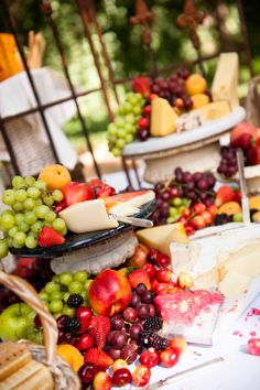 fruit and cheese station  I love it when my work Cartewheels Catering shows up on Pintrest!