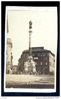 photo albuminée cdv originale 1870 - Rome Roma Place d' Espagne Colonne de l' Immaculée Conception  M1