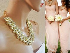 Bridesmaid Pearl Necklace Bridal Chunky by SukranKirtisJewelry, $68.00