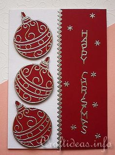 Christmas Card with Peel-Off Sticker Ornaments. Simply place your outline sticker on some card of your choice, and cut around it to create your very own card topper.
