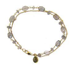 Rosary Chain Bracelet Grey Moonstone | LeMel Designs Jewelry