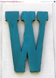 """ON SALE Wall letter W rustic home decor, wedding, cottage, wall hanging distressed in island blue 12"""" tall. You pick color on Etsy, $31.59 CAD"""