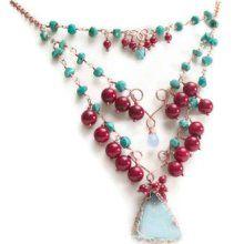 Statement Necklace - Turquoise Coral Jewelry - Druzy Necklace - Gemstone Jewelry - Boho Wedding - Gypsy Bride Ooak