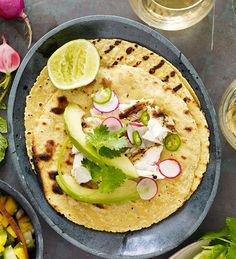Gail Simmons' Grilled-Fish Tacos with Mango-Cucumber-Mint Salsa #recipe paired with Estancia #Chardonnay