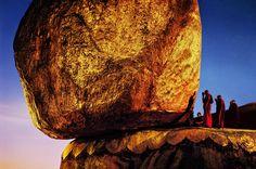 Monks Praying at Golden Rock    BURMA-10004
