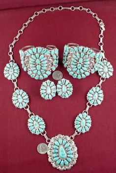 Ugly Otter - Navajo Set - Necklace, Earrings, 2 Bracelets - Turuoise - Justin Wilson - $1,780.00