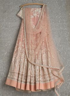 Lehengas by SwatiManish : Peach lehenga and dupatta with white thread work