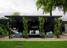 And There Was Light article; 40' long shipping container with green roof, painted black & used as a studio & storage space; backdrop to outdoor seating area - NYTimes.com