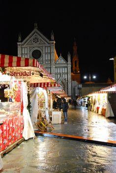 Santa Croce Christmas market, Florence, Italy.