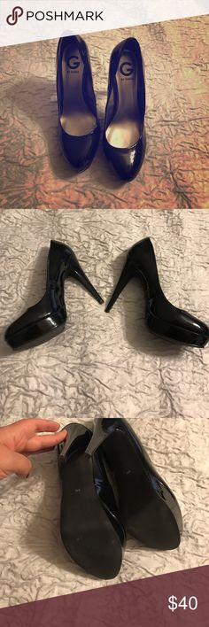 "Black patent leather GUESS pumps size 9 Classic black pumps in patent leather size 9. Worn only once (if that --honestly can't remember). Can ship in a Nike box if needed. Beautiful shoe in a sexy but manageable height.  5.5"" heel with a 1"" platform. I believe they are a true 9. G by Guess Shoes Heels"
