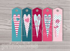 Instant #Download #Valentine #Hearts #Printable #Bookmark, Long Gift Tags, Pink and Teal bookmarks PNG PDF http://etsy.me/2CJPlFP #supplies #pink #blue  #partygifting #valentinesday #wedding #longgifttags #png #pdf